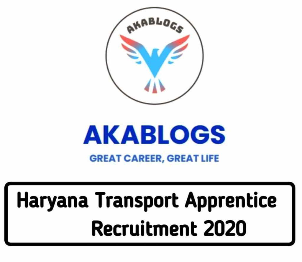 Haryana Transport Apprentice notification 2020